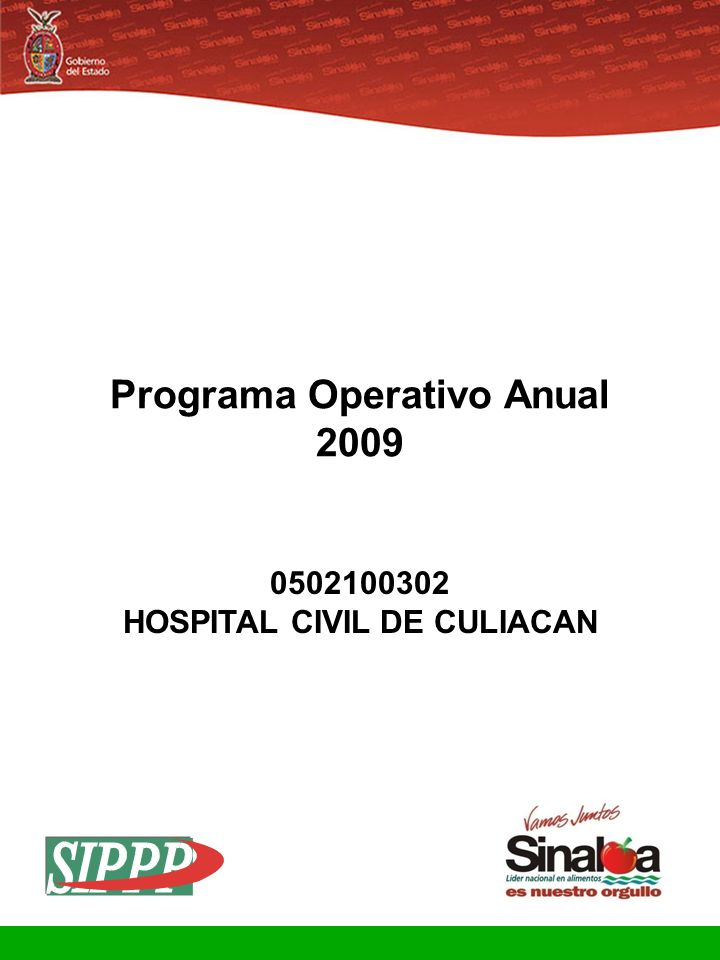 Sistema Integral de Planeación, Programación y Presupuestación Proceso para el Ejercicio Fiscal del año 2009 Gobierno del Estado Programa Operativo Anual 2009 0502100302 HOSPITAL CIVIL DE CULIACAN