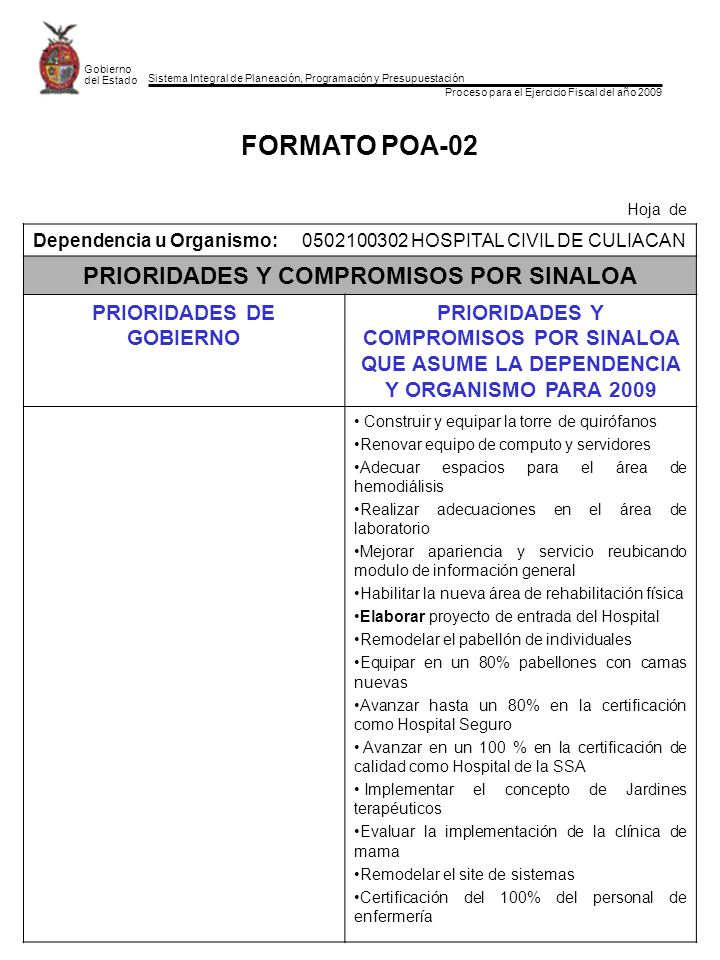 Sistema Integral de Planeación, Programación y Presupuestación Proceso para el Ejercicio Fiscal del año 2009 Gobierno del Estado FORMATO POA-02 Hoja de Dependencia u Organismo:0502100302 HOSPITAL CIVIL DE CULIACAN PRIORIDADES Y COMPROMISOS POR SINALOA PRIORIDADES DE GOBIERNO PRIORIDADES Y COMPROMISOS POR SINALOA QUE ASUME LA DEPENDENCIA Y ORGANISMO PARA 2009 Construir y equipar la torre de quirófanos Renovar equipo de computo y servidores Adecuar espacios para el área de hemodiálisis Realizar adecuaciones en el área de laboratorio Mejorar apariencia y servicio reubicando modulo de información general Habilitar la nueva área de rehabilitación física Elaborar proyecto de entrada del Hospital Remodelar el pabellón de individuales Equipar en un 80% pabellones con camas nuevas Avanzar hasta un 80% en la certificación como Hospital Seguro Avanzar en un 100 % en la certificación de calidad como Hospital de la SSA Implementar el concepto de Jardines terapéuticos Evaluar la implementación de la clínica de mama Remodelar el site de sistemas Certificación del 100% del personal de enfermería