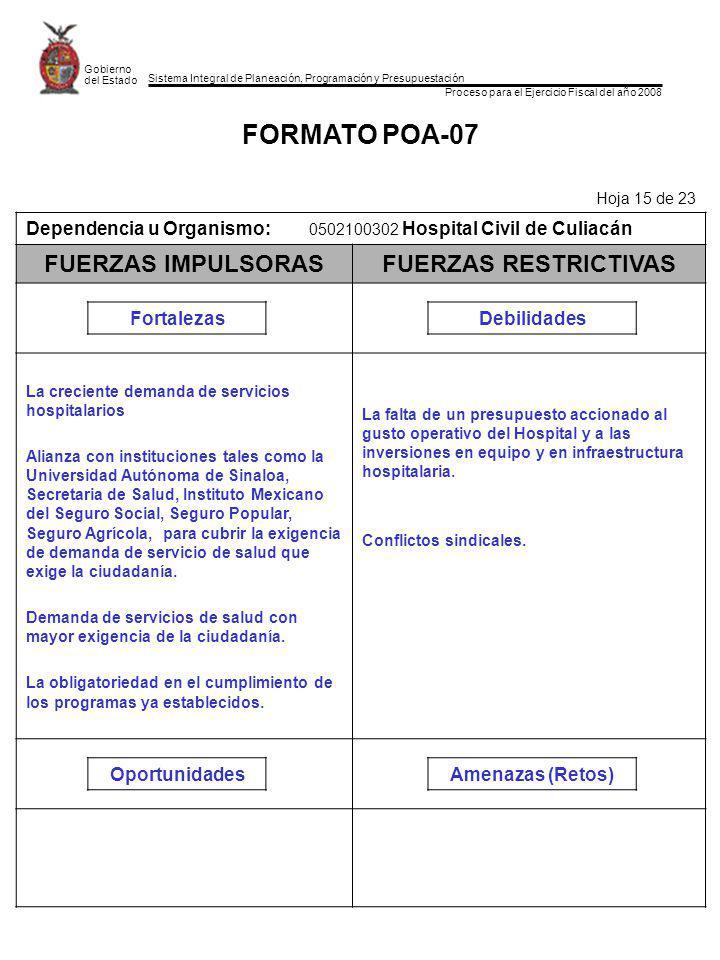 Sistema Integral de Planeación, Programación y Presupuestación Proceso para el Ejercicio Fiscal del año 2008 Gobierno del Estado FORMATO POA-07 Hoja 1