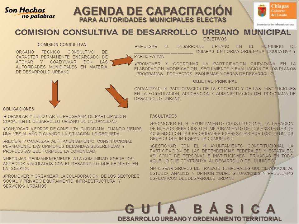 AGENDA DE CAPACITACIÓN PARA AUTORIDADES MUNICIPALES ELECTAS G U Í A B Á S I C A DESARROLLO URBANO Y ORDENAMIENTO TERRITORIAL COMISION CONSULTIVA ORGAN