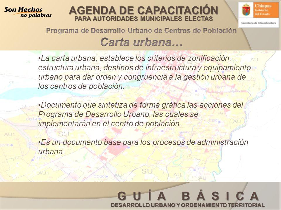 AGENDA DE CAPACITACIÓN PARA AUTORIDADES MUNICIPALES ELECTAS G U Í A B Á S I C A DESARROLLO URBANO Y ORDENAMIENTO TERRITORIAL La carta urbana, establec