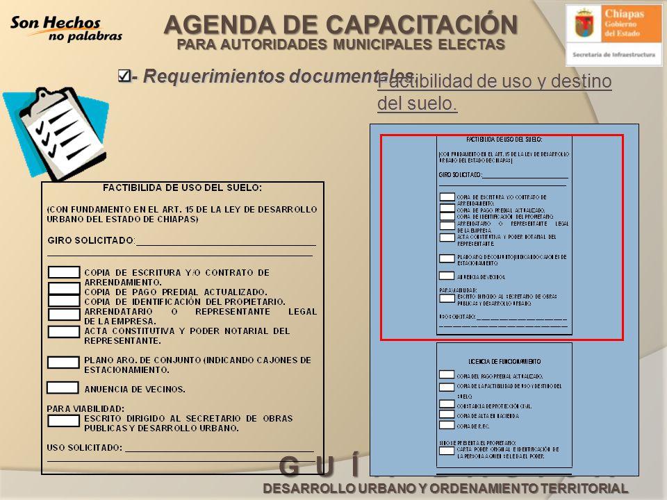 AGENDA DE CAPACITACIÓN PARA AUTORIDADES MUNICIPALES ELECTAS G U Í A B Á S I C A DESARROLLO URBANO Y ORDENAMIENTO TERRITORIAL - Requerimientos document