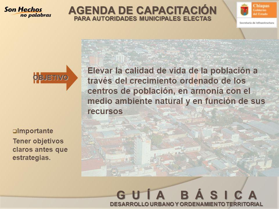AGENDA DE CAPACITACIÓN PARA AUTORIDADES MUNICIPALES ELECTAS G U Í A B Á S I C A DESARROLLO URBANO Y ORDENAMIENTO TERRITORIAL 2.- (ESTRATEGIAS DE DESARROLLO Y PROYECTOS ESTRATEGICOS) 3.- ETAPA (CARTA URBANA) H.