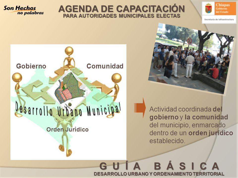 AGENDA DE CAPACITACIÓN PARA AUTORIDADES MUNICIPALES ELECTAS G U Í A B Á S I C A DESARROLLO URBANO Y ORDENAMIENTO TERRITORIAL Una de las herramientas fundamentales para dirigir acciones encaminadas a orientar el desarrollo urbano, es el manejo del Programa de desarrollo urbano Programa de Desarrollo Urbano de Centros de Población