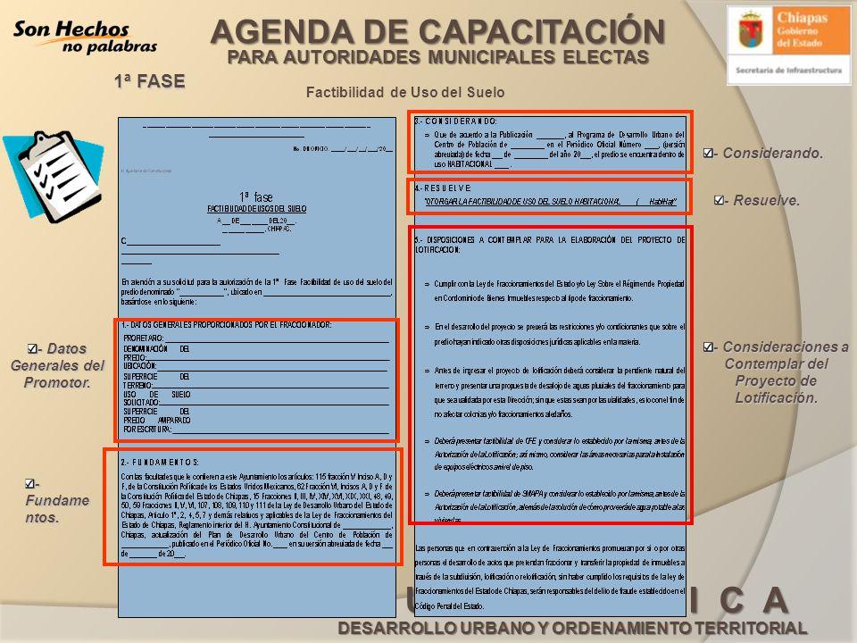 AGENDA DE CAPACITACIÓN PARA AUTORIDADES MUNICIPALES ELECTAS G U Í A B Á S I C A DESARROLLO URBANO Y ORDENAMIENTO TERRITORIAL Factibilidad de Uso del S