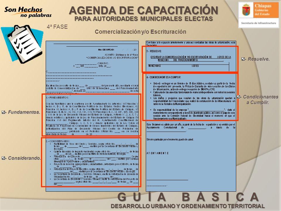 AGENDA DE CAPACITACIÓN PARA AUTORIDADES MUNICIPALES ELECTAS G U Í A B Á S I C A DESARROLLO URBANO Y ORDENAMIENTO TERRITORIAL Comercialización y/o Escr
