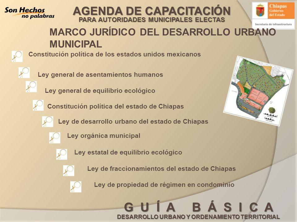 AGENDA DE CAPACITACIÓN PARA AUTORIDADES MUNICIPALES ELECTAS G U Í A B Á S I C A DESARROLLO URBANO Y ORDENAMIENTO TERRITORIAL CROQUIS DE LOCALIZACIÓN VERSIÓN ABREVIADA PROGRAMA DE DESARROLLO URBANO TABLA DE COMPATIBILIDAD DEL USO DE SUELO LIMITE DE CENTRO DE POBLACIÓN PLANO DE ESTRATEGIAS: TRAZA URBANA, USOS, DESTINOS DEL SUELO, ÁREA DE CRECIMIENTO, ZONA DE PRESERVACIÓN ECOLÓGICA Y ESTRUCTURA URBANA TIRA MARGINAL Y SIMBOLOGÍA NOMBRE DE LA CARTA ESCALA GRAFICA Y COORDENADAS DE UBICACION