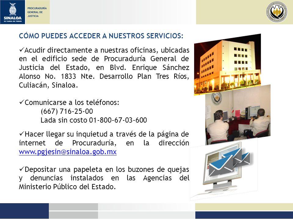 SI REQUIERES LOS SERVICIOS DE LA OFICINA DE ATENCIÓN ESPECIALIZADA A PERSONAS CON CAPACIDADES DIFERENTES: Acude a nuestras oficinas ubicadas en: Culiacán, edificio de la Subprocuraduría Regional de Justicia Zona Centro, avenida Manuel Vallarta # 2086 Col.