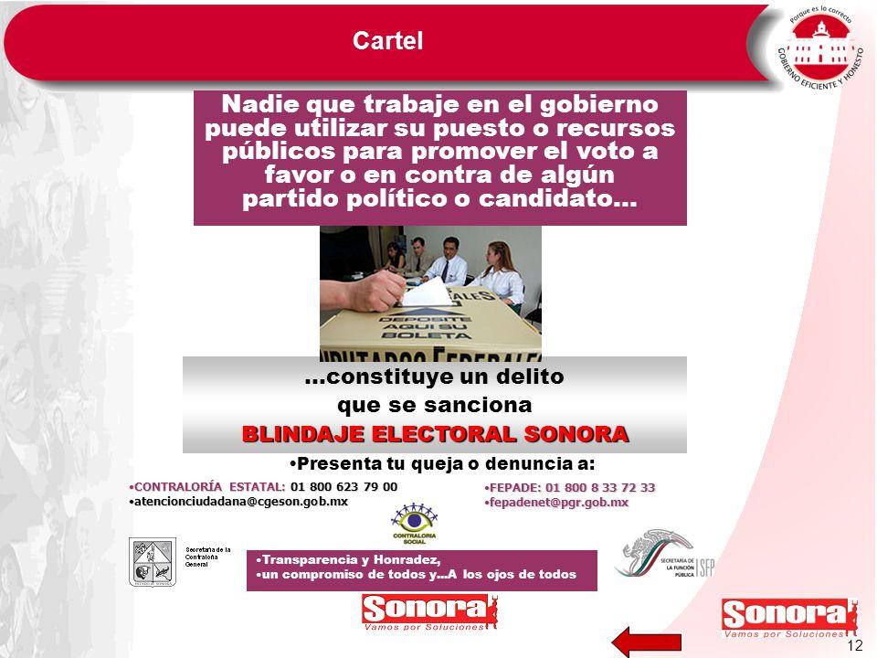 12 Cartel BLINDAJE ELECTORAL SONORA …constituye un delito que se sanciona BLINDAJE ELECTORAL SONORA Nadie que trabaje en el gobierno puede utilizar su