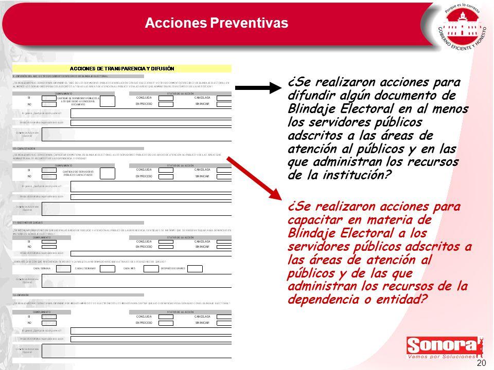 20 Acciones Preventivas ¿Se realizaron acciones para difundir algún documento de Blindaje Electoral en al menos los servidores públicos adscritos a la