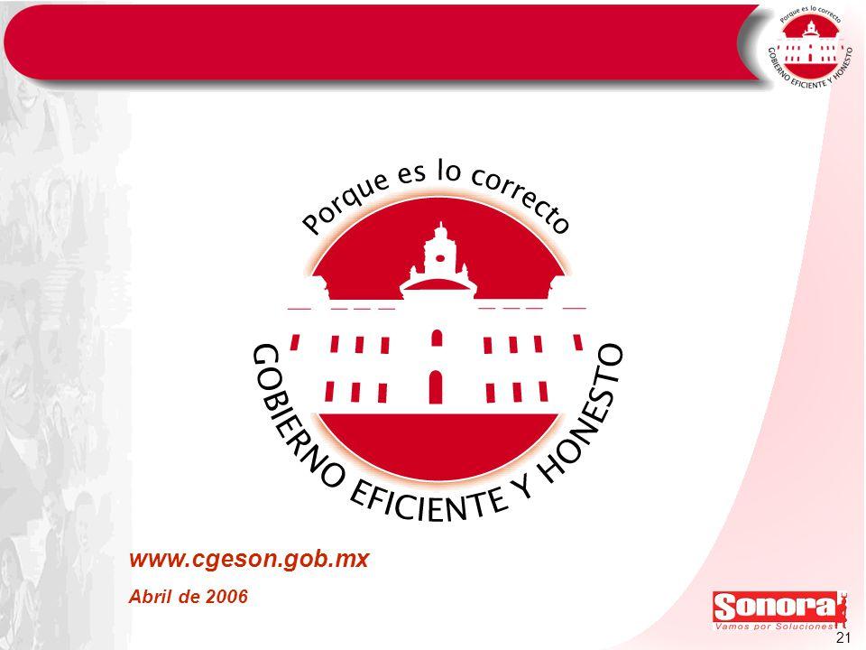 21 www.cgeson.gob.mx Abril de 2006