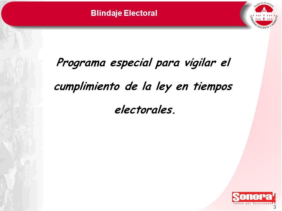3 Blindaje Electoral Programa especial para vigilar el cumplimiento de la ley en tiempos electorales.
