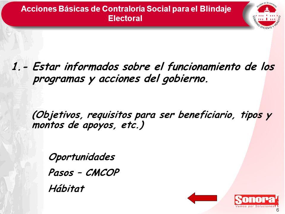 6 Acciones Básicas de Contraloría Social para el Blindaje Electoral 1.- Estar informados sobre el funcionamiento de los programas y acciones del gobie