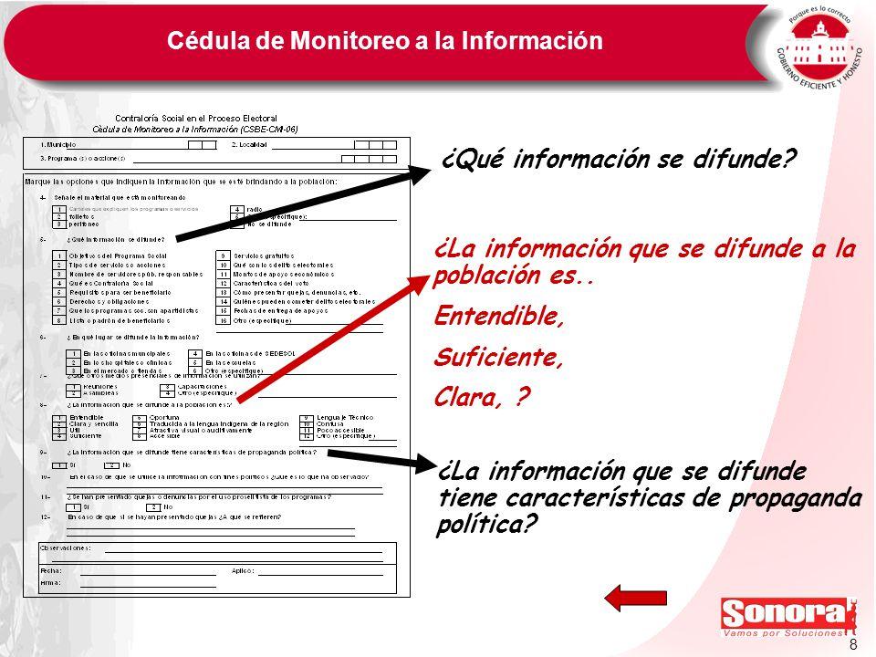 8 Cédula de Monitoreo a la Información ¿Qué información se difunde? ¿La información que se difunde tiene características de propaganda política? ¿La i