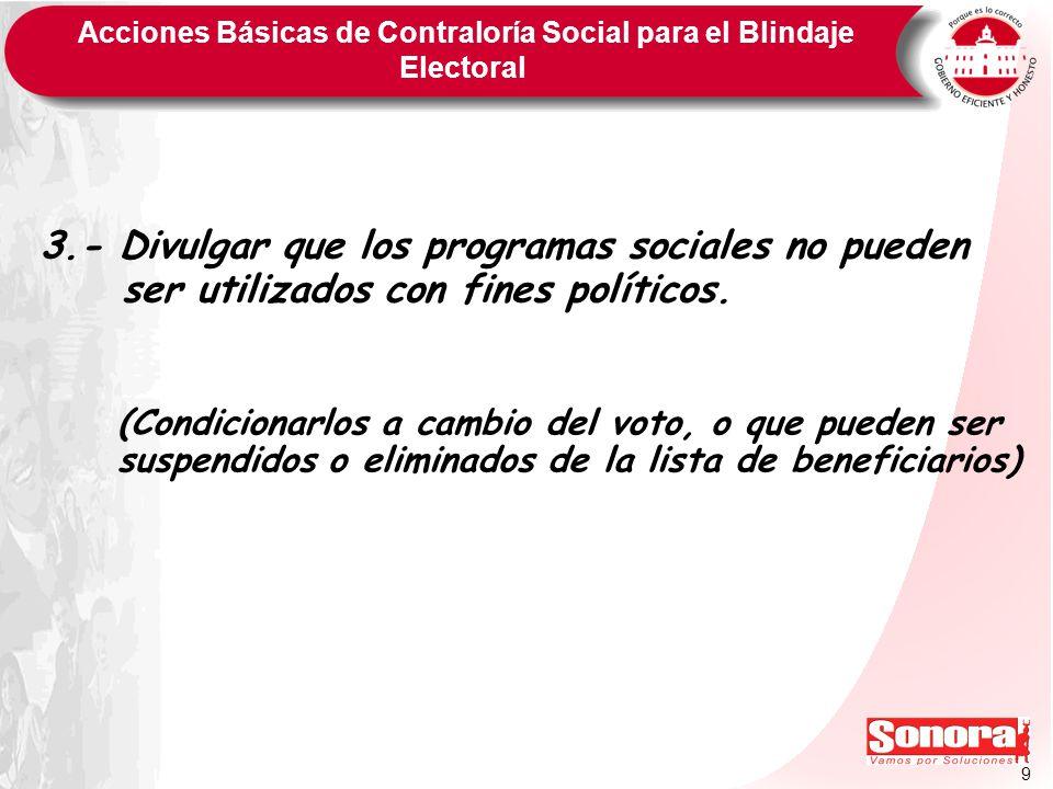 9 Acciones Básicas de Contraloría Social para el Blindaje Electoral 3.- Divulgar que los programas sociales no pueden ser utilizados con fines polític