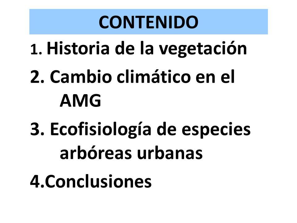 CONTENIDO 1. Historia de la vegetación 2. Cambio climático en el AMG 3. Ecofisiología de especies arbóreas urbanas 4.Conclusiones