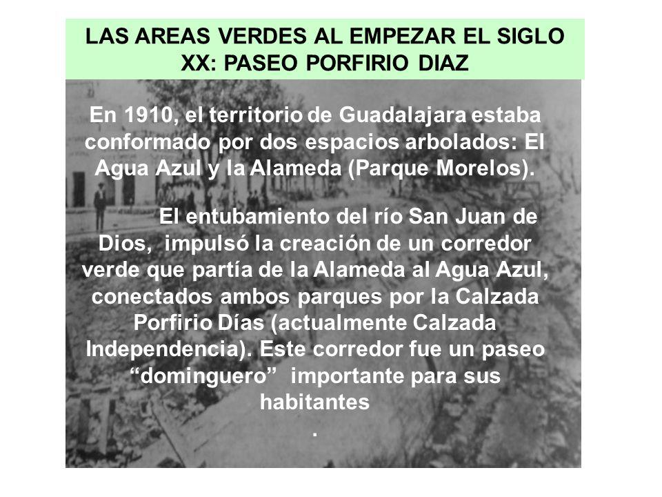 En 1910, el territorio de Guadalajara estaba conformado por dos espacios arbolados: El Agua Azul y la Alameda (Parque Morelos). El entubamiento del rí
