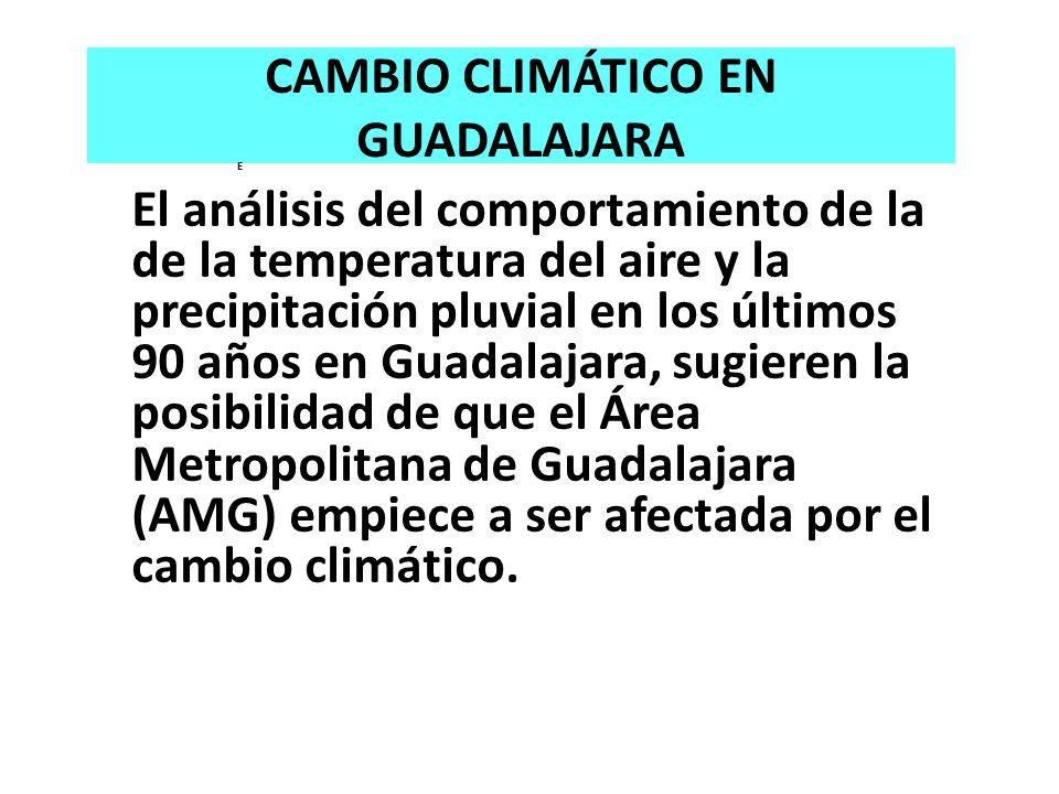 CAMBIO CLIMÁTICO EN GUADALAJARA E El análisis del comportamiento de la de la temperatura del aire y la precipitación pluvial en los últimos 90 años en