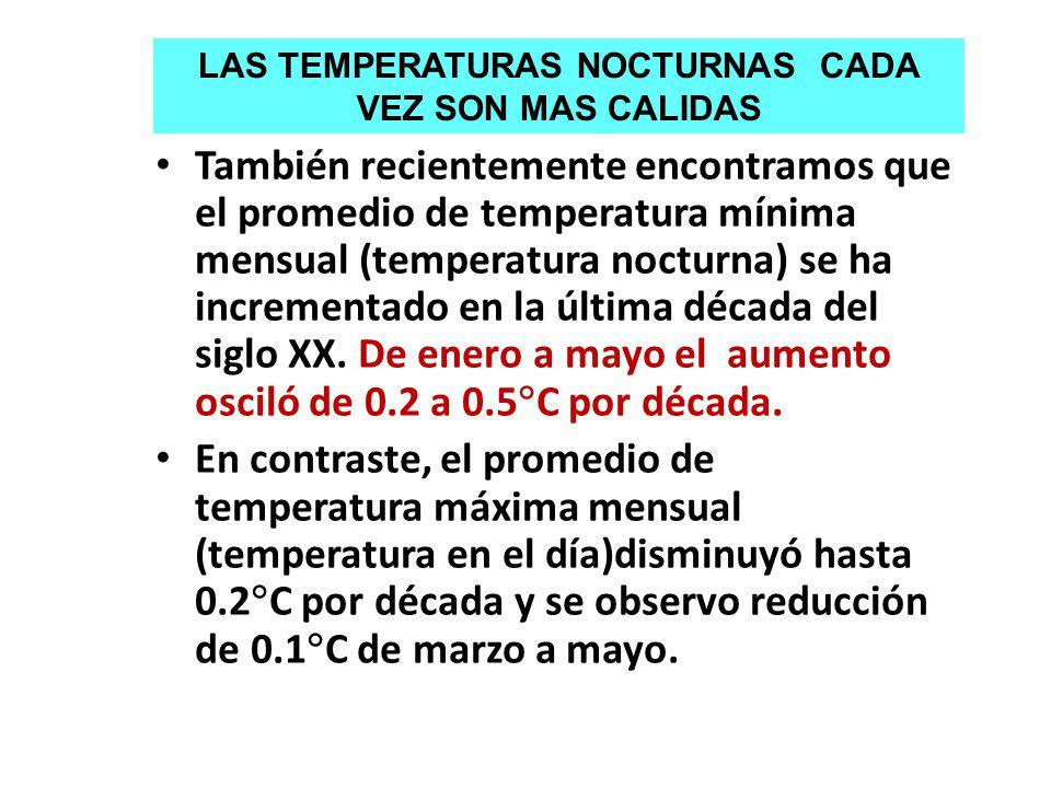 También recientemente encontramos que el promedio de temperatura mínima mensual (temperatura nocturna) se ha incrementado en la última década del sigl