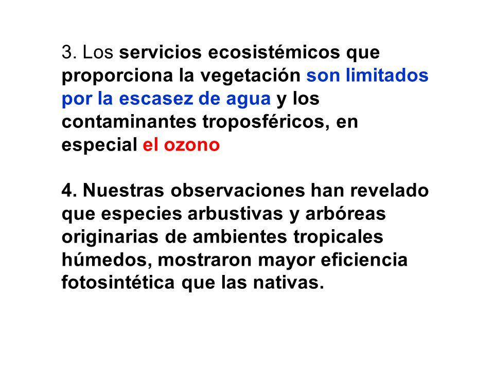 3. Los servicios ecosistémicos que proporciona la vegetación son limitados por la escasez de agua y los contaminantes troposféricos, en especial el oz