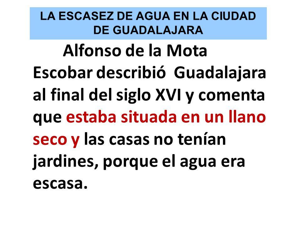 Alfonso de la Mota Escobar describió Guadalajara al final del siglo XVI y comenta que estaba situada en un llano seco y las casas no tenían jardines,