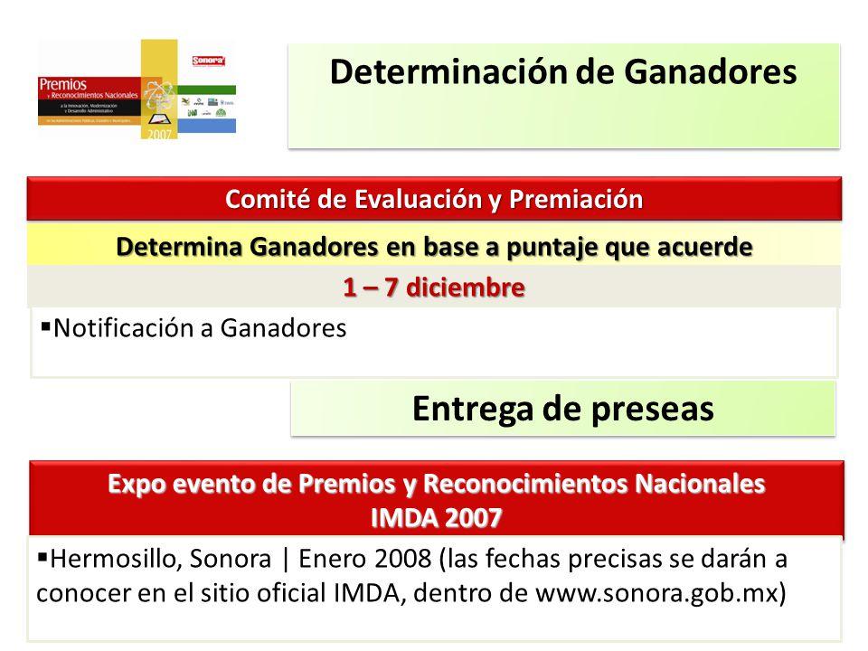 10 Determinación de Ganadores Comité de Evaluación y Premiación Determina Ganadores en base a puntaje que acuerde 1 – 7 diciembre Notificación a Ganad