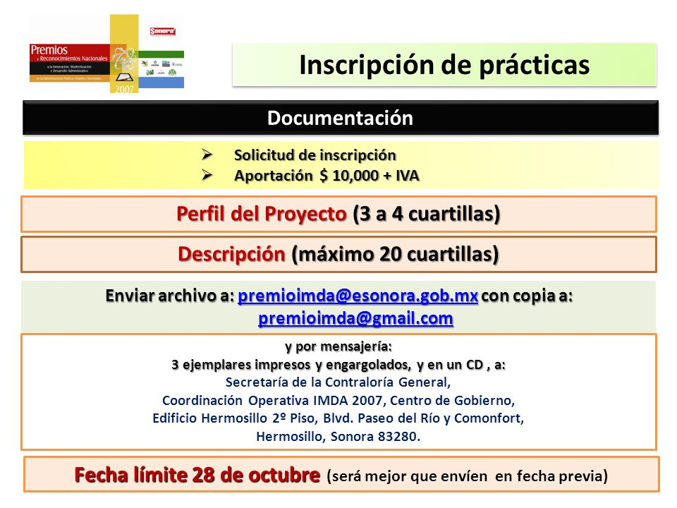 Inscripción de prácticas DocumentaciónDocumentación Solicitud de inscripción Solicitud de inscripción Aportación $ 10,000 + IVA Aportación $ 10,000 +