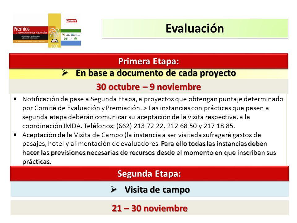 En base a documento de cada proyecto En base a documento de cada proyecto Evaluación Primera Etapa: 30 octubre – 9 noviembre Notificación de pase a Segunda Etapa, a proyectos que obtengan puntaje determinado por Comité de Evaluación y Premiación.