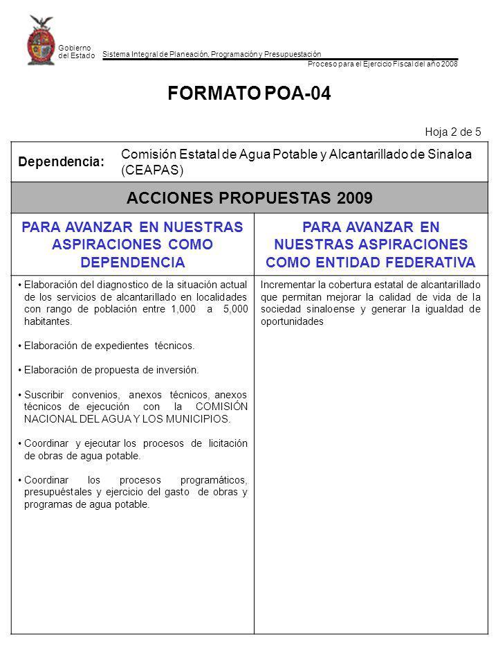 Sistema Integral de Planeación, Programación y Presupuestación Proceso para el Ejercicio Fiscal del año 2008 Gobierno del Estado FORMATO POA-04 Hoja 2 de 5 Dependencia: Comisión Estatal de Agua Potable y Alcantarillado de Sinaloa (CEAPAS) ACCIONES PROPUESTAS 2009 PARA AVANZAR EN NUESTRAS ASPIRACIONES COMO DEPENDENCIA PARA AVANZAR EN NUESTRAS ASPIRACIONES COMO ENTIDAD FEDERATIVA Elaboración del diagnostico de la situación actual de los servicios de alcantarillado en localidades con rango de población entre 1,000 a 5,000 habitantes.