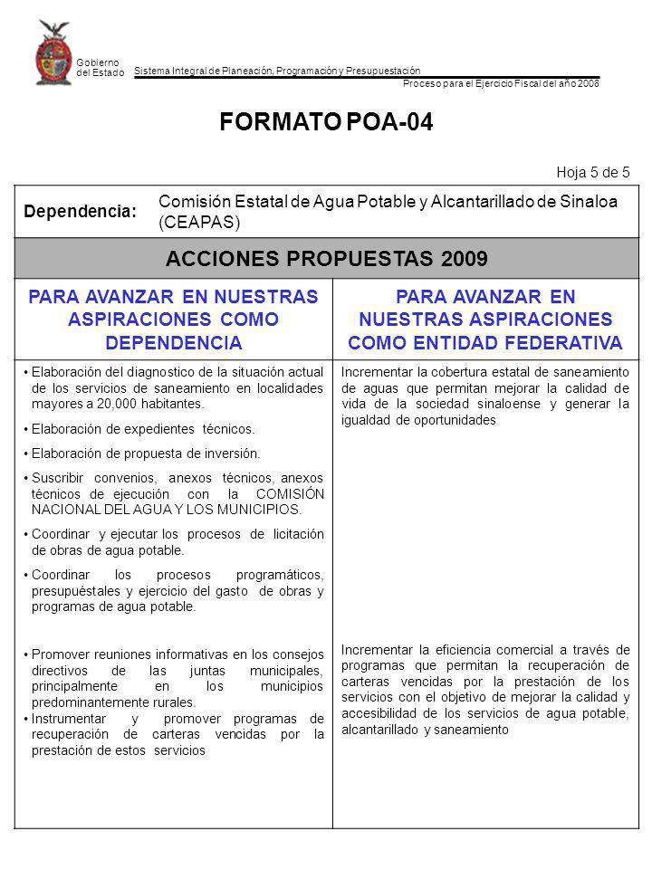 Sistema Integral de Planeación, Programación y Presupuestación Proceso para el Ejercicio Fiscal del año 2008 Gobierno del Estado FORMATO POA-04 Hoja 5 de 5 Dependencia: Comisión Estatal de Agua Potable y Alcantarillado de Sinaloa (CEAPAS) ACCIONES PROPUESTAS 2009 PARA AVANZAR EN NUESTRAS ASPIRACIONES COMO DEPENDENCIA PARA AVANZAR EN NUESTRAS ASPIRACIONES COMO ENTIDAD FEDERATIVA Elaboración del diagnostico de la situación actual de los servicios de saneamiento en localidades mayores a 20,000 habitantes.