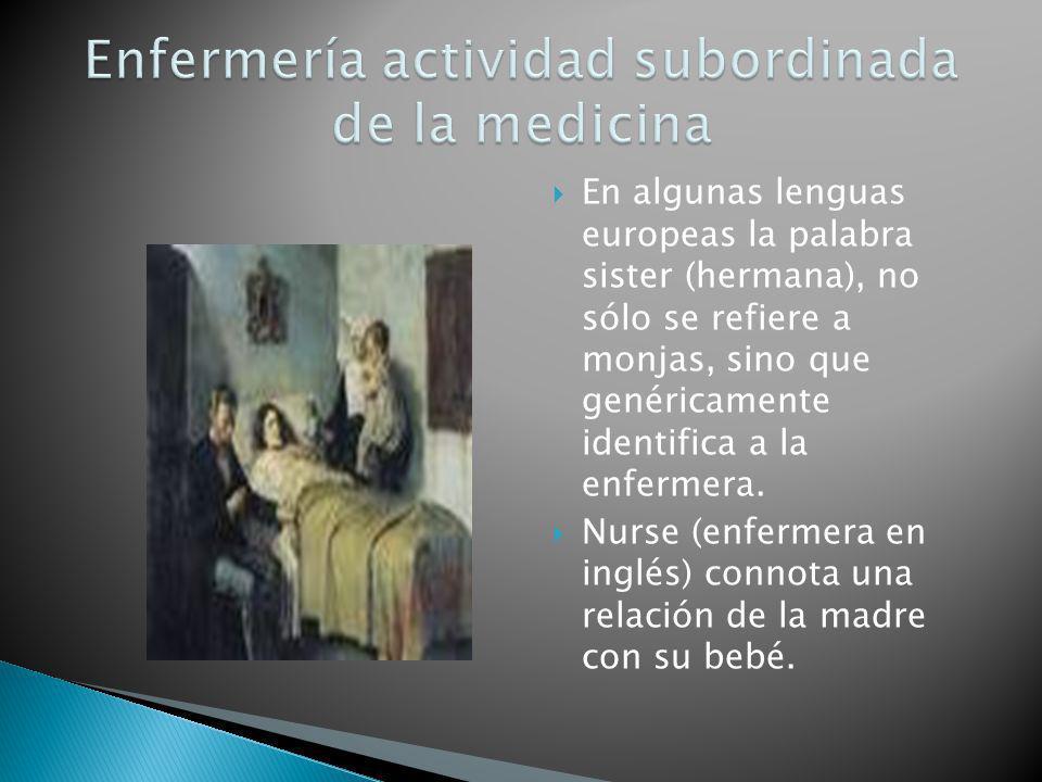 En algunas lenguas europeas la palabra sister (hermana), no sólo se refiere a monjas, sino que genéricamente identifica a la enfermera. Nurse (enferme