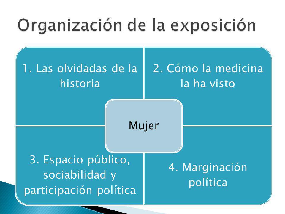 1. Las olvidadas de la historia 2. Cómo la medicina la ha visto 3. Espacio público, sociabilidad y participación política 4. Marginación política Muje