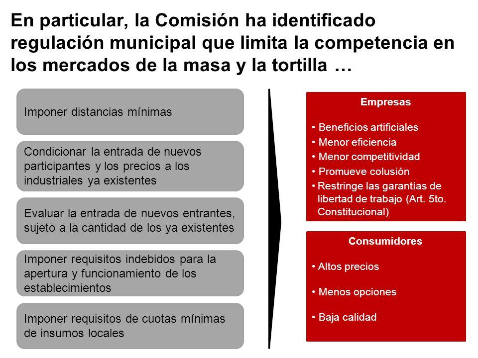 En particular, la Comisión ha identificado regulación municipal que limita la competencia en los mercados de la masa y la tortilla … Imponer distancia