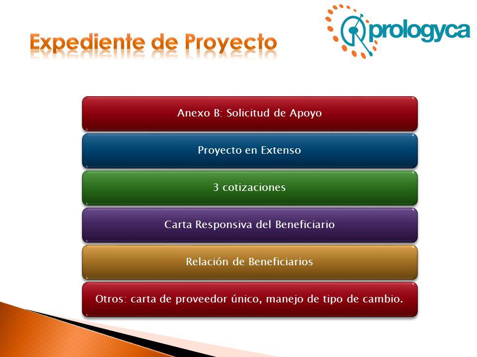 Anexo B: Solicitud de ApoyoProyecto en Extenso3 cotizacionesCarta Responsiva del BeneficiarioRelación de BeneficiariosOtros: carta de proveedor único,