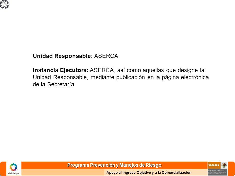 Programa Prevención y Manejos de Riesgo Apoyo al Ingreso Objetivo y a la Comercialización Unidad Responsable: ASERCA.