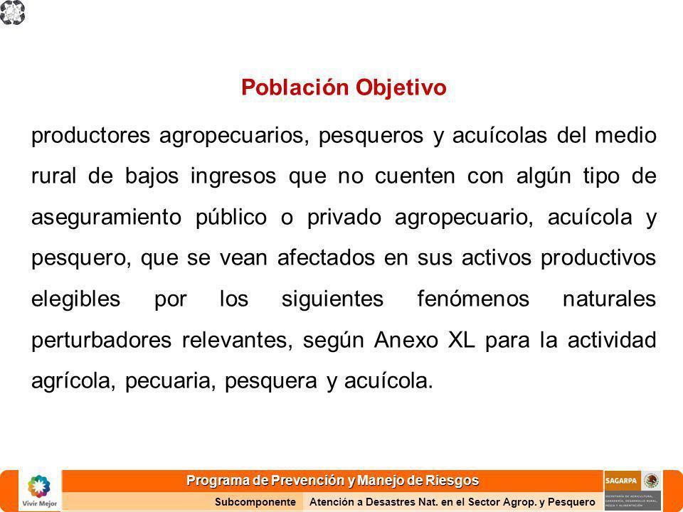 Programa de Prevención y Manejo de Riesgos SubcomponenteAtención a Desastres Nat. en el Sector Agrop. y Pesquero Población Objetivo productores agrope