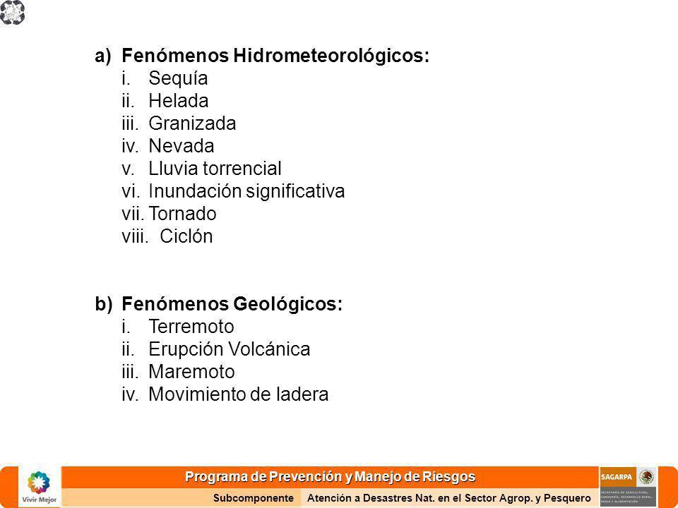 Programa de Prevención y Manejo de Riesgos SubcomponenteAtención a Desastres Nat. en el Sector Agrop. y Pesquero a)Fenómenos Hidrometeorológicos: i.Se