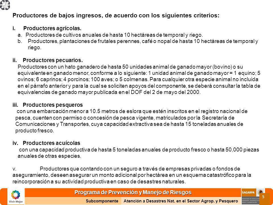 Programa de Prevención y Manejo de Riesgos SubcomponenteAtención a Desastres Nat. en el Sector Agrop. y Pesquero 5 Productores de bajos ingresos, de a