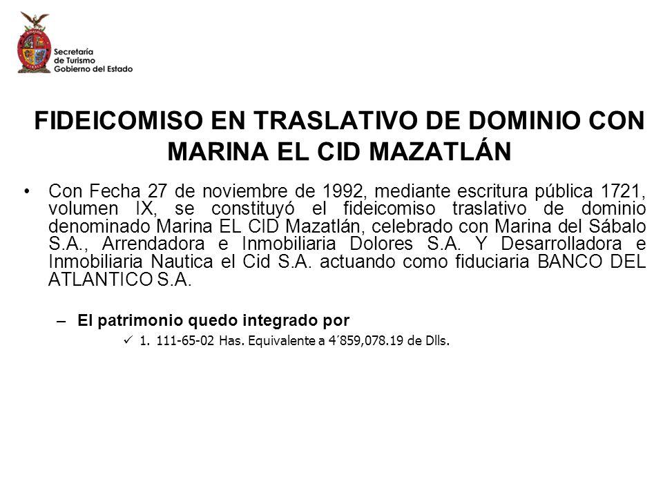 FIDEICOMISO EN TRASLATIVO DE DOMINIO CON MARINA EL CID MAZATLÁN Con Fecha 27 de noviembre de 1992, mediante escritura pública 1721, volumen IX, se con