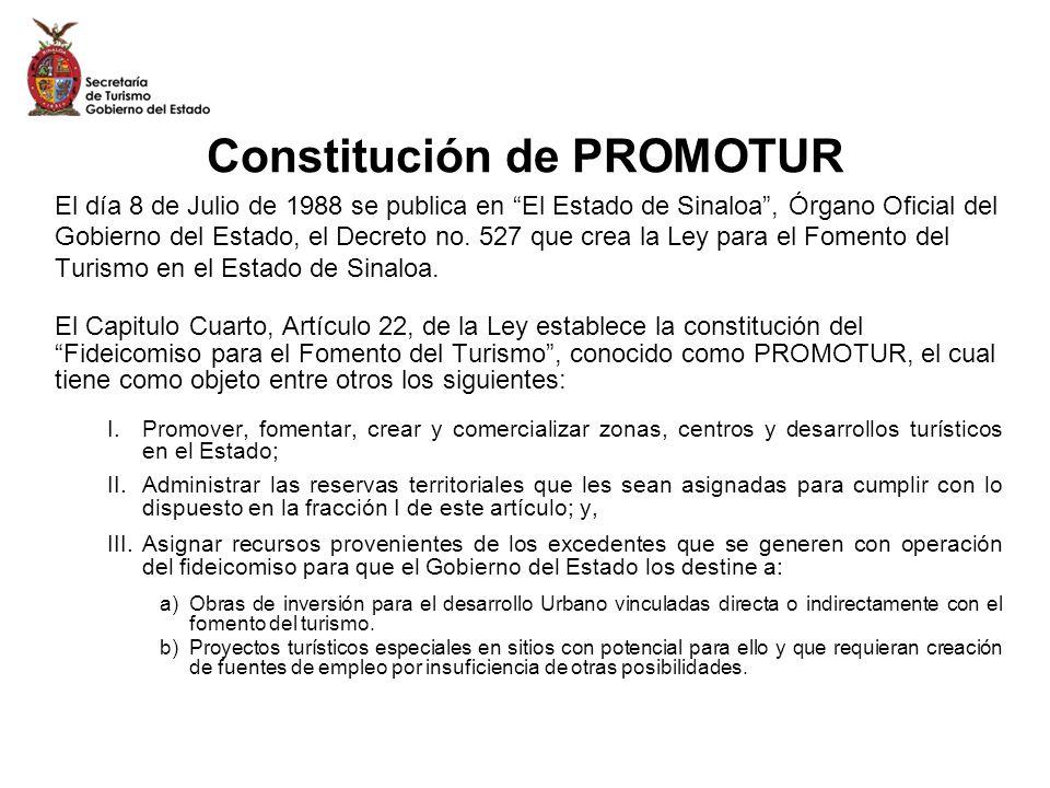 Constitución de PROMOTUR El día 8 de Julio de 1988 se publica en El Estado de Sinaloa, Órgano Oficial del Gobierno del Estado, el Decreto no. 527 que