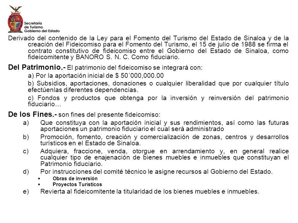 Derivado del contenido de la Ley para el Fomento del Turismo del Estado de Sinaloa y de la creación del Fideicomiso para el Fomento del Turismo, el 15