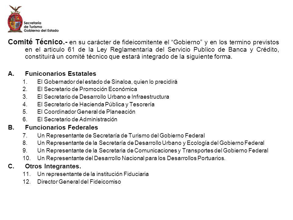 Comité Técnico.- en su carácter de fideicomitente el Gobierno y en los termino previstos en el articulo 61 de la Ley Reglamentaria del Servicio Publico de Banca y Crédito, constituirá un comité técnico que estará integrado de la siguiente forma.