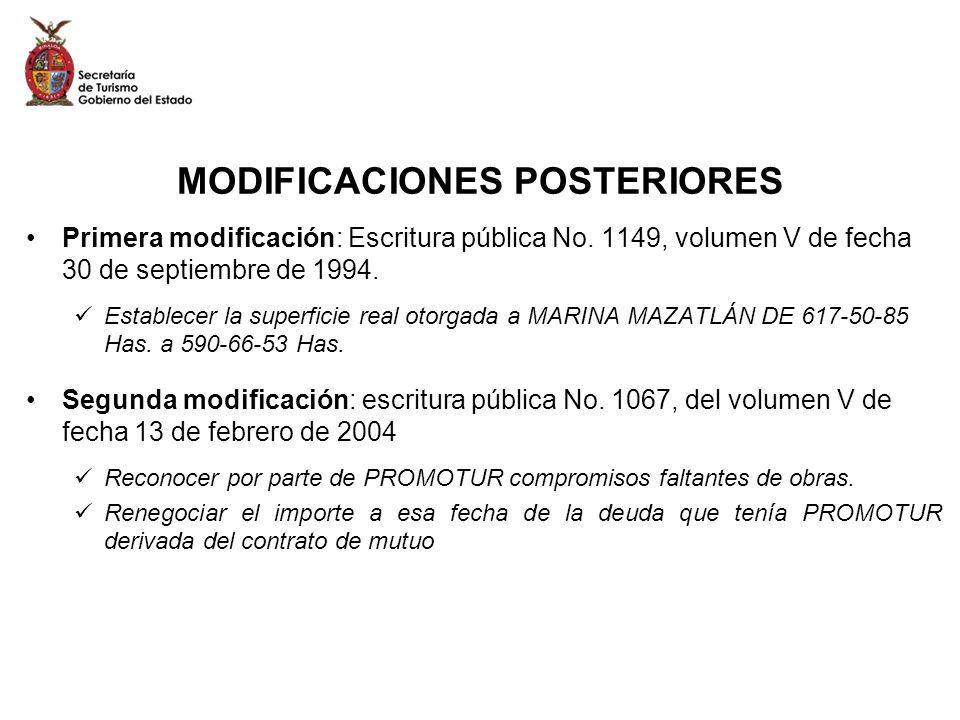 MODIFICACIONES POSTERIORES Primera modificación: Escritura pública No. 1149, volumen V de fecha 30 de septiembre de 1994. Establecer la superficie rea