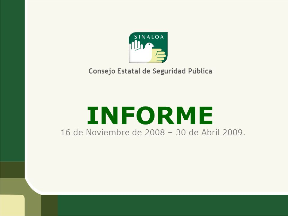 INFORME 16 de Noviembre de 2008 – 30 de Abril 2009. Consejo Estatal de Seguridad Pública