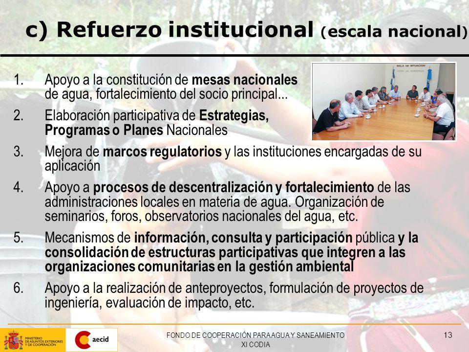 FONDO DE COOPERACIÓN PARA AGUA Y SANEAMIENTO XI CODIA 13 c) Refuerzo institucional ( escala nacional ) 1.Apoyo a la constitución de mesas nacionales de agua, fortalecimiento del socio principal...