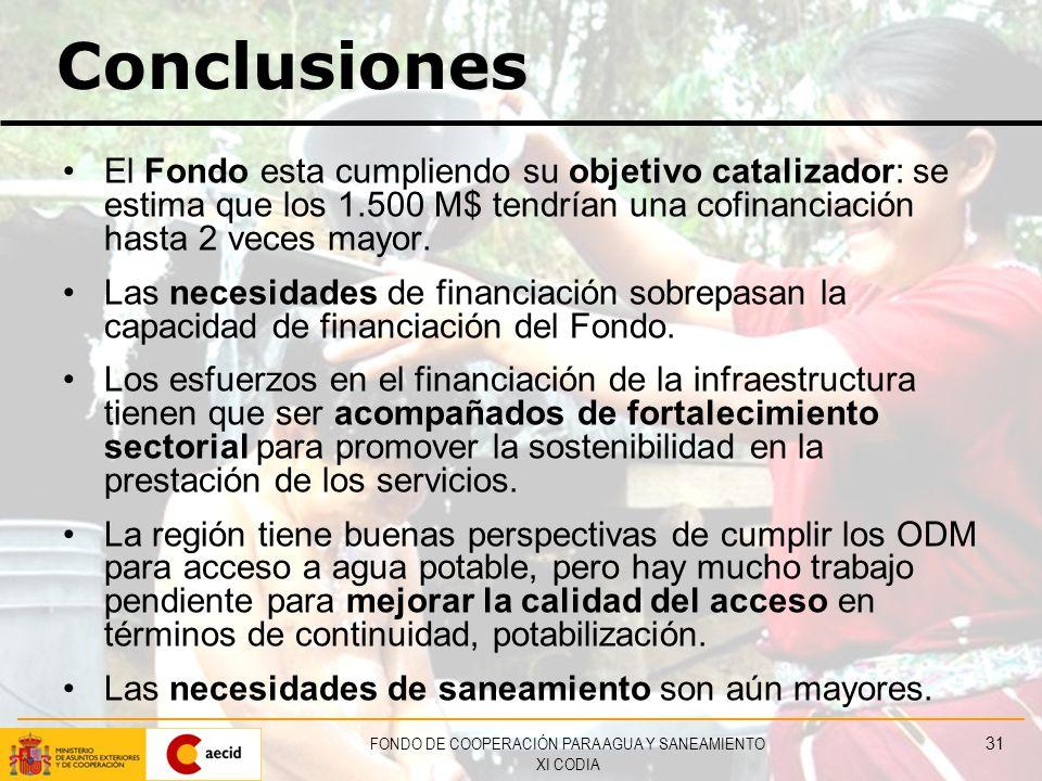 FONDO DE COOPERACIÓN PARA AGUA Y SANEAMIENTO XI CODIA 31 Conclusiones El Fondo esta cumpliendo su objetivo catalizador: se estima que los 1.500 M$ tendrían una cofinanciación hasta 2 veces mayor.