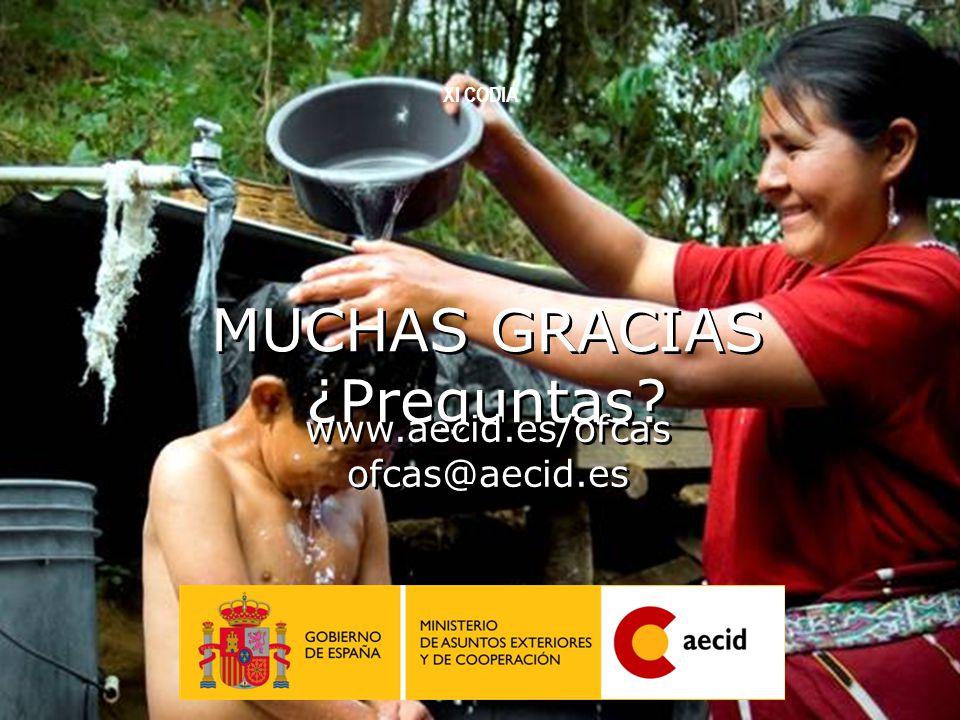 32 MUCHAS GRACIAS ¿Preguntas? www.aecid.es/ofcas ofcas@aecid.es XI CODIA