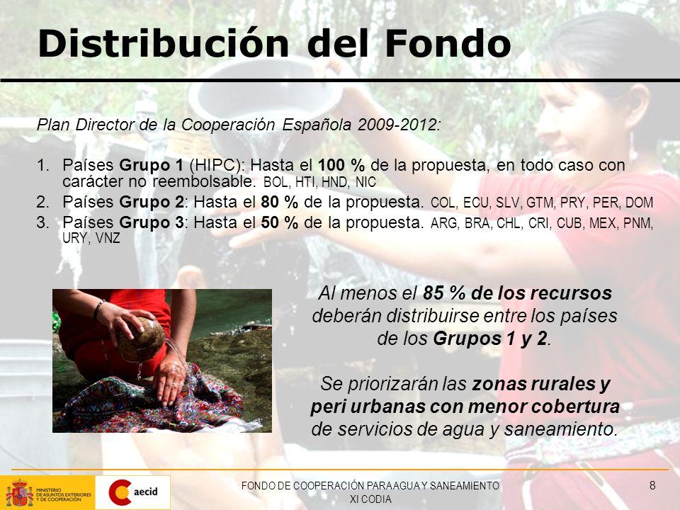 FONDO DE COOPERACIÓN PARA AGUA Y SANEAMIENTO XI CODIA 8 Distribución del Fondo Plan Director de la Cooperación Española 2009-2012: 1.Países Grupo 1 (HIPC): Hasta el 100 % de la propuesta, en todo caso con carácter no reembolsable.