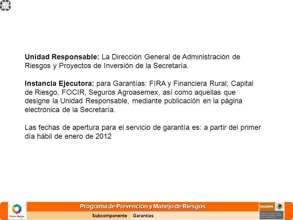 Programa de Prevención y Manejo de Riesgos SubcomponenteGarantías Unidad Responsable: La Dirección General de Administración de Riesgos y Proyectos de Inversión de la Secretaría.