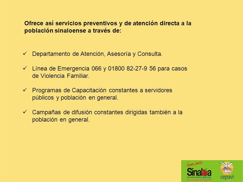 Departamento de Atención, Asesoría y Consulta. Línea de Emergencia 066 y 01800 82-27-9 56 para casos de Violencia Familiar. Programas de Capacitación